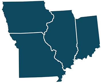map of Iowa, Missouri, Illinois and Indiana